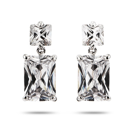 Red Carpet Style Princess and Emerald Cut CZ Dangle Earrings