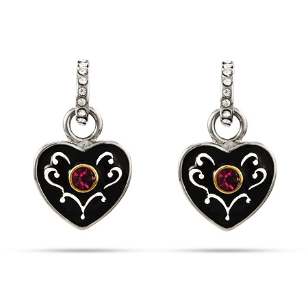 Delicate Black Enameled Heart Earrings with Amethyst CZ