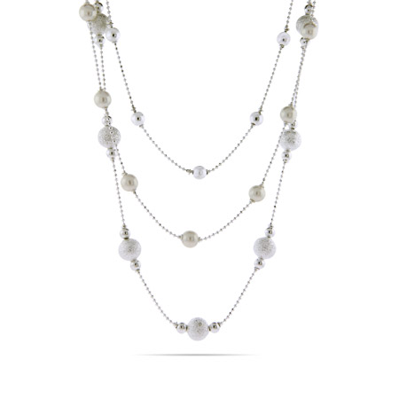 Alternating Pearls and Beads Layered Necklace