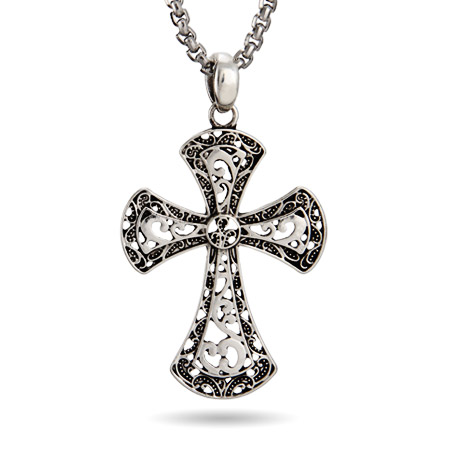 Ornate Antiqued Style Cross Pendant