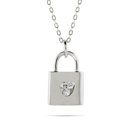 Tiffany Inspired Three Stone Love Lock Necklace
