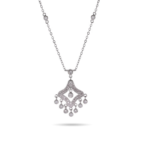 CZ Chandelier Necklace with Bezel Chain