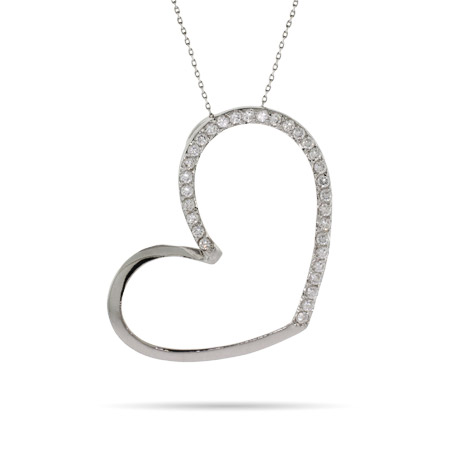 Sparkling CZ Large Open Heart Necklace