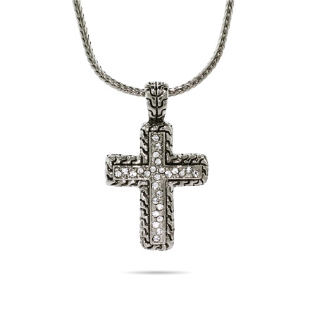 Designer Inspired Braided Bali CZ Cross Necklace