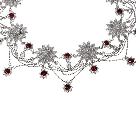 Exquisite Garnet CZ Dazzling Fancy Sunflower Necklace