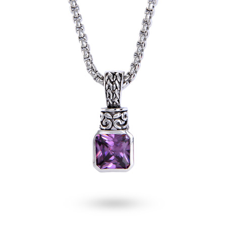 Designer Inspired Amethyst Pendant on Bali Chain