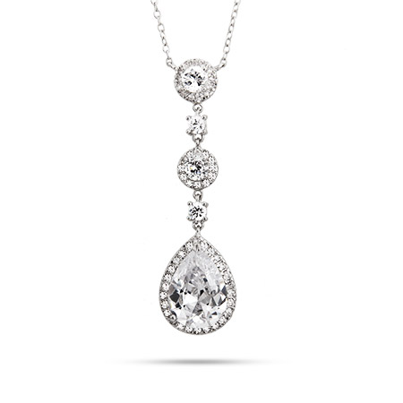Elegant Pearcut Drop CZ Cocktail Necklace