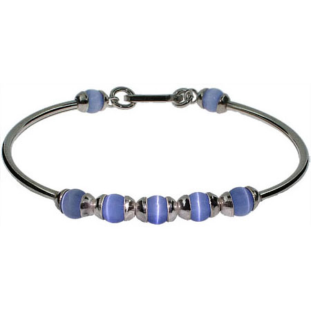 Sterling Silver Bangle Bracelet with Blue Cat's Eyes