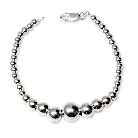 Tiffany Style Graduated Bead Sterling Silver Bracelet