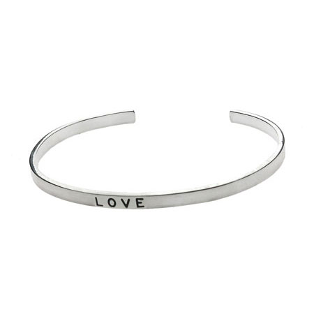 Sterling Silver Friendship Stackable Bracelet - Love