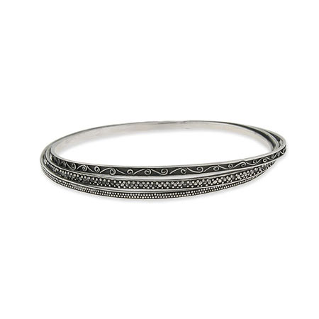 Triple Sterling Silver Bali Bangle Bracelet