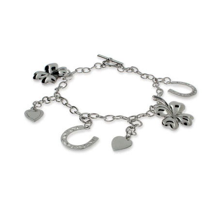 Sterling Silver Good Luck Charm Bracelet