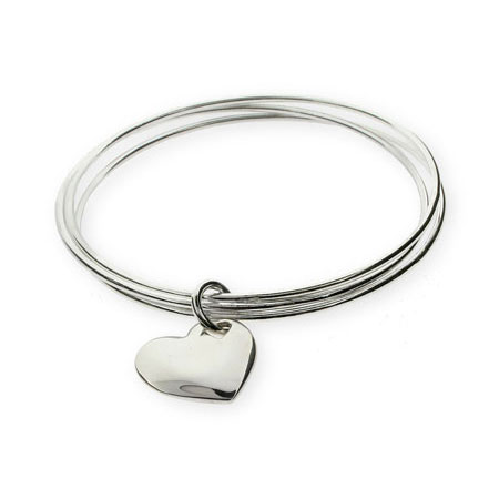Tiffany Style Solid Heart Triple Bangle Bracelet