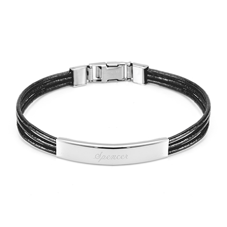 Ladies Black Leather Band Stainless Steel ID Bracelet