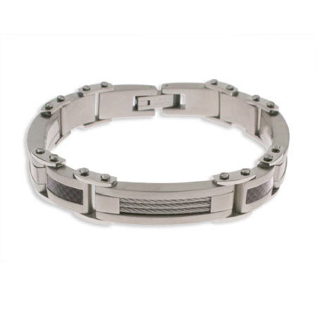Mens Carbon Fiber and Cable Stainless Steel Bracelet