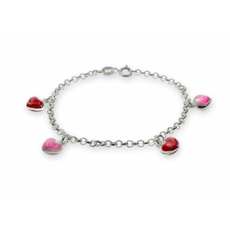 Pink and Red Enamel Heart Charm Childrens Bracelet