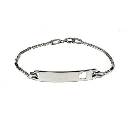 Sterling Silver Box Link Childrens ID Bracelet