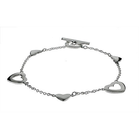 Tiffany Inspired Sterling Silver Heart Link Lariat Bracelet