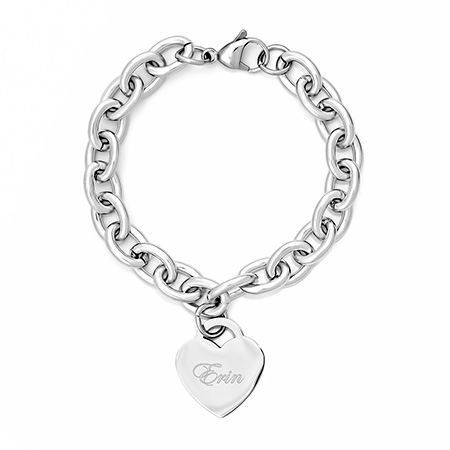 Tiffany Inspired Stainless Steel Heart Tag Bracelet