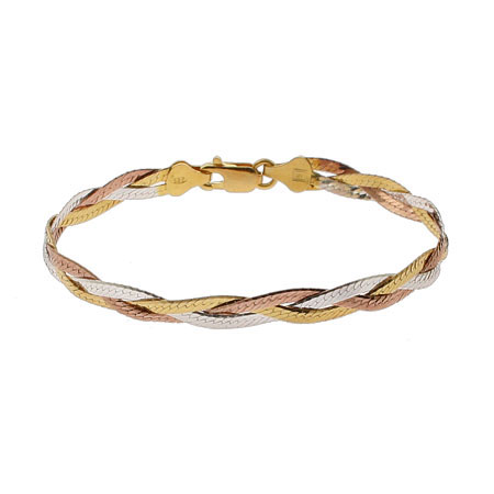 Triple Tone Sterling Silver Braided Bracelet