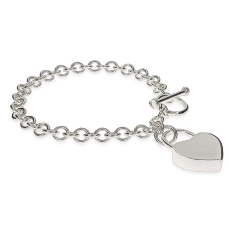 Tiffany Style Locked Heart Sterling Silver Bracelet