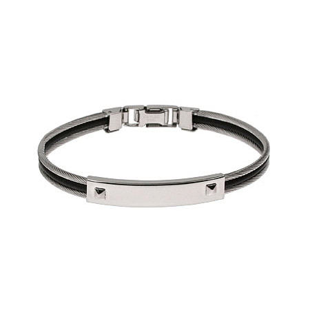 Mens and Ladies Engravable Cable Studded ID Bracelet