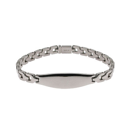 Smooth Link Engravable Oval ID Message Bracelet