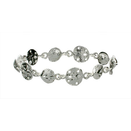 Seashell and Sand Dollar Sterling Silver Bracelet