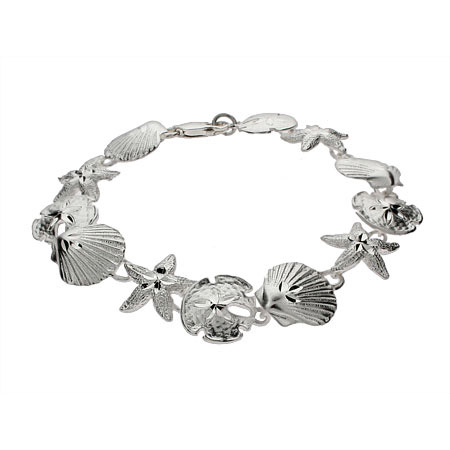 Sterling Silver Seashell, Sand Dollar and Starfish Bracelet