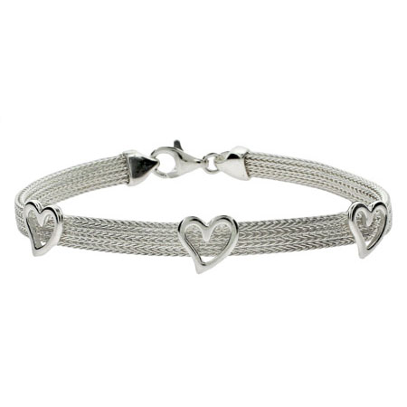 Tiffany Inspired Triple Hearts Sterling Silver Mesh Bracelet