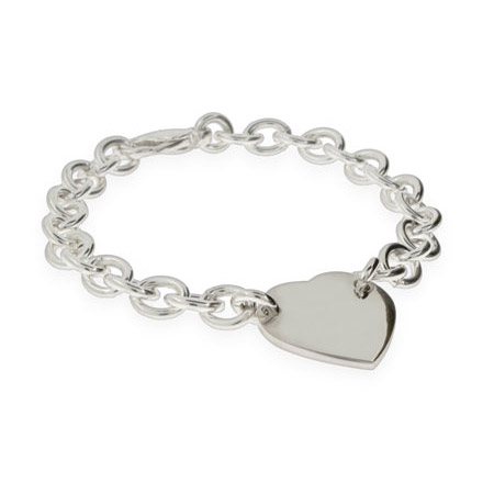Tiffany Inspired Sterling Silver Heart ID Bracelet