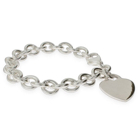 Tiffany Inspired Sterling Silver Heavy Heart Tag Bracelet
