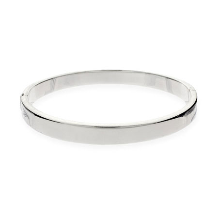 5mm Flat Engravable Sterling Silver Bangle Bracelet