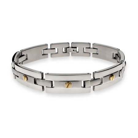 Designer Inspired Mens Stainless Steel Bracelet with Gold Screw Accents