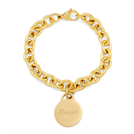 Tiffany Inspired Stainless Steel Gold Round Tag Bracelet