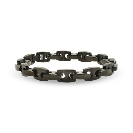 Mens Black Stainless Steel Puffed Anchor Link Bracelet