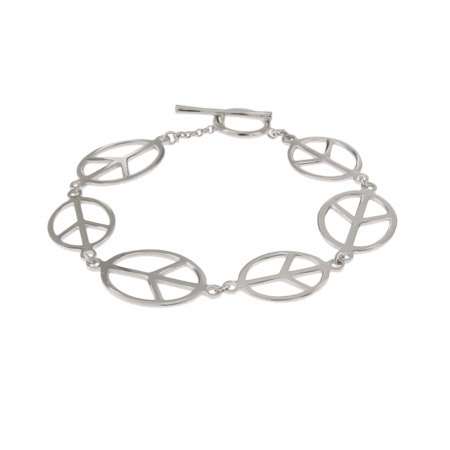 Elongated Sterling Silver Peace Sign Bracelet with Toggle Clasps