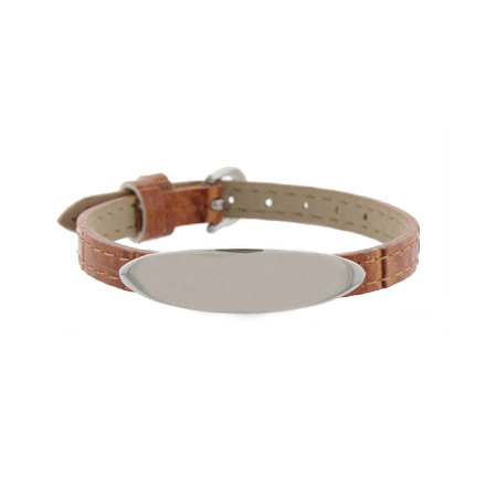 Engravable Brown Leather Oval ID Bracelet