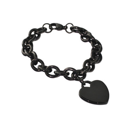 Tiffany Inspired Black Plate Stainless Steel Heart Tag Bracelet