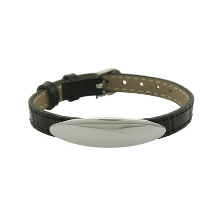 Black Leather Engravable Oval ID Bracelet