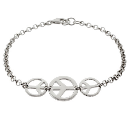Sterling Silver Triple Peace Sign Bracelet