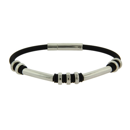 Men's Black Rubber Bracelet With Polished Stainless Steel Links