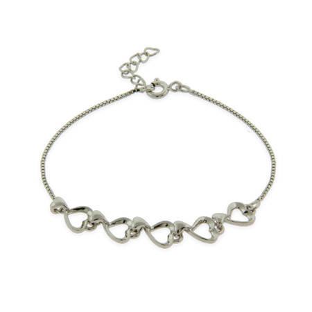 Pretty Five Heart Petite Sterling Silver Bracelet