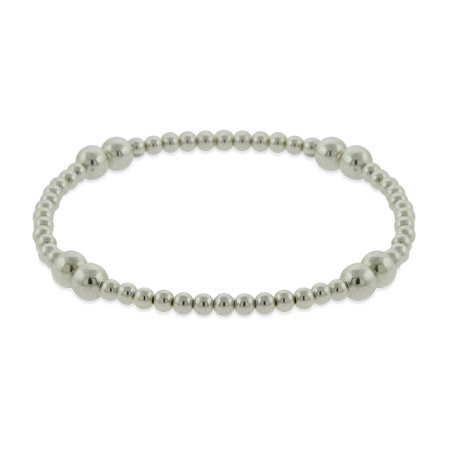 Sterling Silver Bead Stretch Bracelet