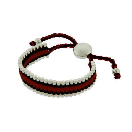 Red and Black Links Engravable Friendship Bracelet