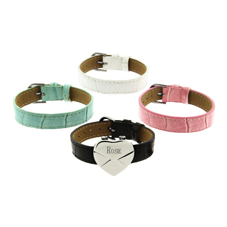 Engravable Heart Secret Message Envelope Bracelet Set