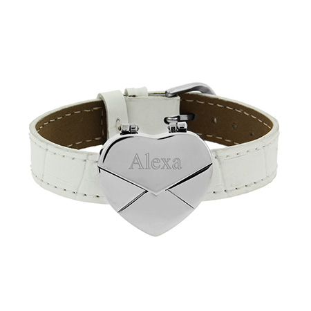 Engravable White Secret Message Heart Envelope Locket Bracelet