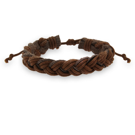 Faceted Brown Braided Leather Bracelet
