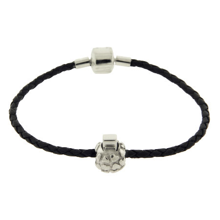 Black Braided Leather Oriana Bead Bracelet with Stopper Bead