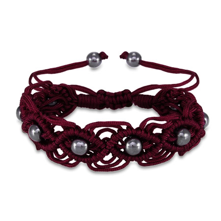 Plum Beaded Macrame Friendship Bracelet